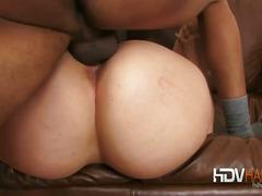 brunette, threesome, hardcore, interracial, hd, 3some, black on white, brown hair, cowgirl, doggy style, ffm, missionary, rough fuck