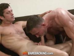 Sam slams his raw lubed-up dick hard into the cock-craving bottom
