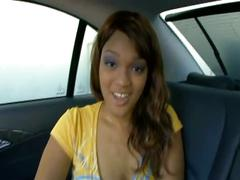 Hot chick fucked in the car pov