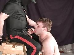 Mouth stuffing session as pig daddy in leather fucks horny slave