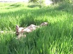Horny boy enjoying handjob in the grass