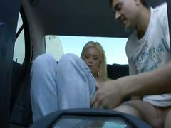 Blonde babe hammered in back seat