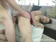 Cute latina girlfriend abused hard in her hairy pussy