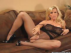 blonde, fetish, milf, big-tits, kinky, mom, mother, footfetish, foot, pantyhose, wife, cougar