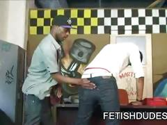 Black dude bends over and gets his luscious butt cheeks spanked