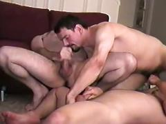 Dude gets both ends fucked by these two horny guys in threesome