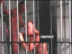 Interracial hardcore anal hammering encounter behind the bars