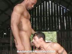 Hard bodied muscled hunks derrick hanson and joey russo barn fuck