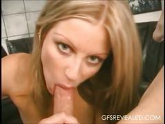 Horny blonde satisfying cock with her mouth