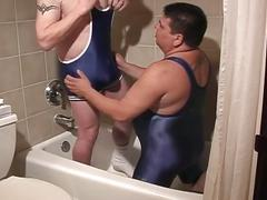 Filthy pig daddies cock sucking encounter while in the shower