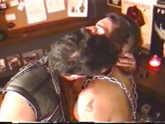 Cum loading horny muscled studs in leather gather in group fuck