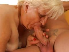 Old fat bitch drilled hard by a young cock