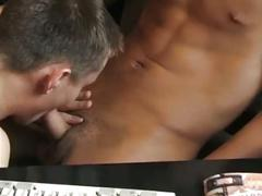 Horny hunks hot anal pounding in office