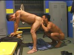 Horny coach fucked in the ass by a young stud in the locker room