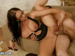 Busty brunette rammed after and before nice footjobs