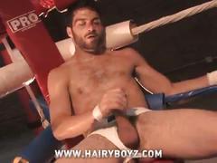 Horny hairy dude jerks off himself