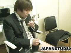 Japanese businessman hiroki nishi stroking cock in the office