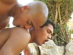 Lewd young latino boys stuffing tight ass holes outdoors