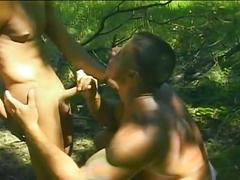 Spicy outdoor anal execution with hard bodied muscled beach studs