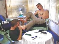 Sleazy foot licking to hardcore anal pumping studs at barber shop