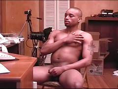 Sleazy ebony stud strips off and jerks his monster black cock