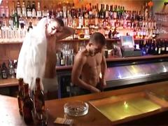 Hunks in bar have hot bareback fucking