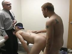 Pig daddies enjoying nasty threesome anal shenanigans in bathroom