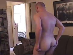 Muscular bald dude shower and jerk off