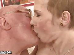 Grandpa fucks chicky clarissa on the couch
