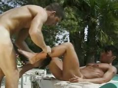 Furious anal loading with super hot muscled gay studs outdoors