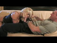 Busty hot blonde fucked by massive dick