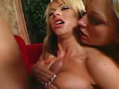 One lucky guy gets to fuck to hot blonde babes