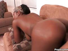 Hot ebony chick takes on a black fat cock