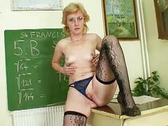 Milf teacher toys pussy after class