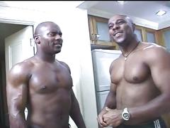 Muscled guy with hard cock fucking young ebony