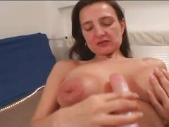 Big tit brunette goes solo as she masturbates