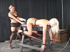 Bondage bitch has her pussy rammed with a huge toy