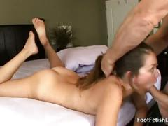 Allie haze gets feet and pussy worshipped then pleases the cock