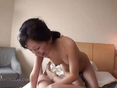 Hot japanese bitch sucking cock in dormroom