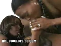 Two ebony sluts worship cock