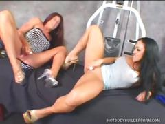 Cherokee and aria tight bald snatch toying.