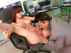 Old big dick boss fucks a young sexy secretary in the office