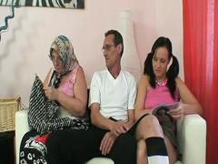 Horny young brunette bitch joining granny and grandpa fuck session