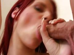 The redhead babe suck and fuck by two stiff cock