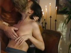 Slender brunette milf opens sweet pussy wide for table pounding