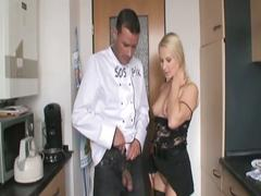 Horny hot blonde fucked by horny cook in the kitchen