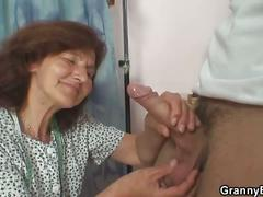 Sewing granny jumps on this young boy's cock