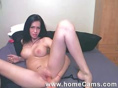 babe, brunette, masturbation, solo, toys, webcam, beauty, black hair, chick, dildo, masturbating, posing, striptease, teasing