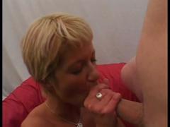 Milf blonde sucks two dicks and fucks