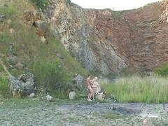 Czech teen slut derailed outdoors